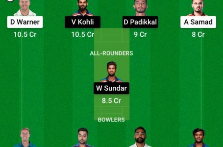 RCB Vs SRH Dream11 Prediction, Fantasy Playing XI